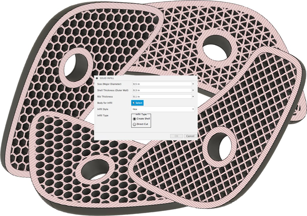 <Fusion 360おもしろアドイン情報>ソリッドボディにインフィルパターンを作成してくれるアドインFusion 360 Filler#Fusion360
