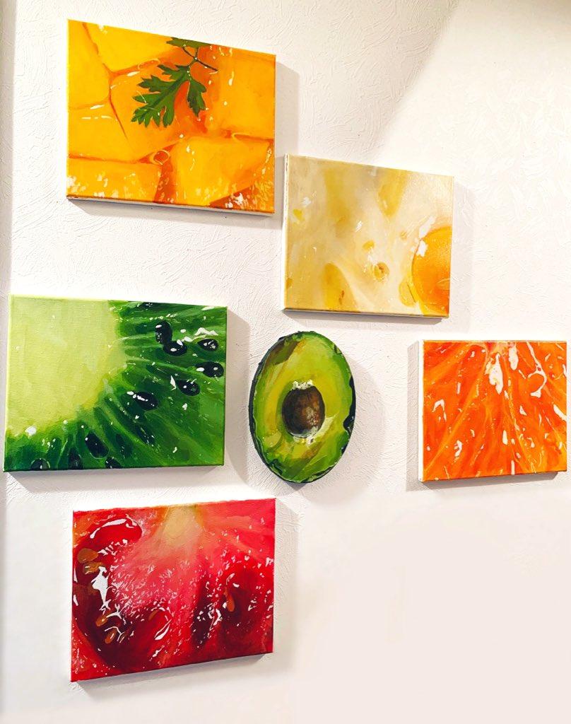 絵の具で描いた食べ物たち