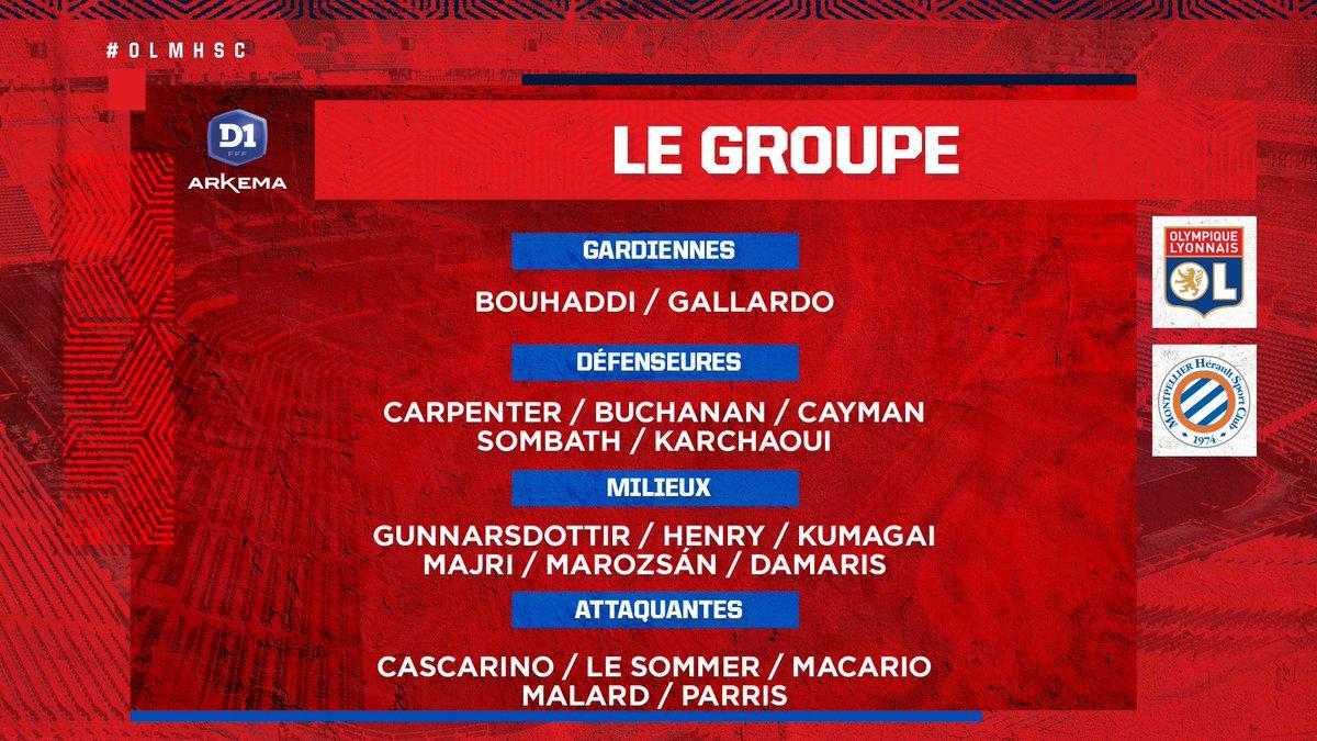 Le groupe lyonnais pour la réception du @MontpellierHSC ce samedi à 15h15 ! 🔴🔵  Première pour @catarinamacario, et retour de @janicecayman ! 👊  #OLMHSC