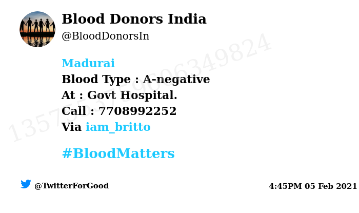 #Madurai Need #Blood Type :  A-negative At : Govt Hospital.  Blood Component : Blood Number of Units : 2 Primary Number : 7708992252 Via: @iam_britto #BloodMatters Powered by Twitter