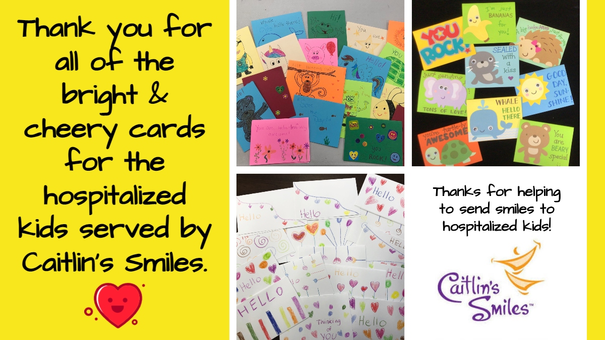 Thanks to everyone who made cards for the kids served by Caitlin's Smiles. Many of these cards were created in honor of the #MLKDayofService. Cards will be placed in 'Bags Of Smiles' & 'Coping Kits' for kids in hospitals.  #SendingSmiles #WithYourHelp #Volunteer #charity