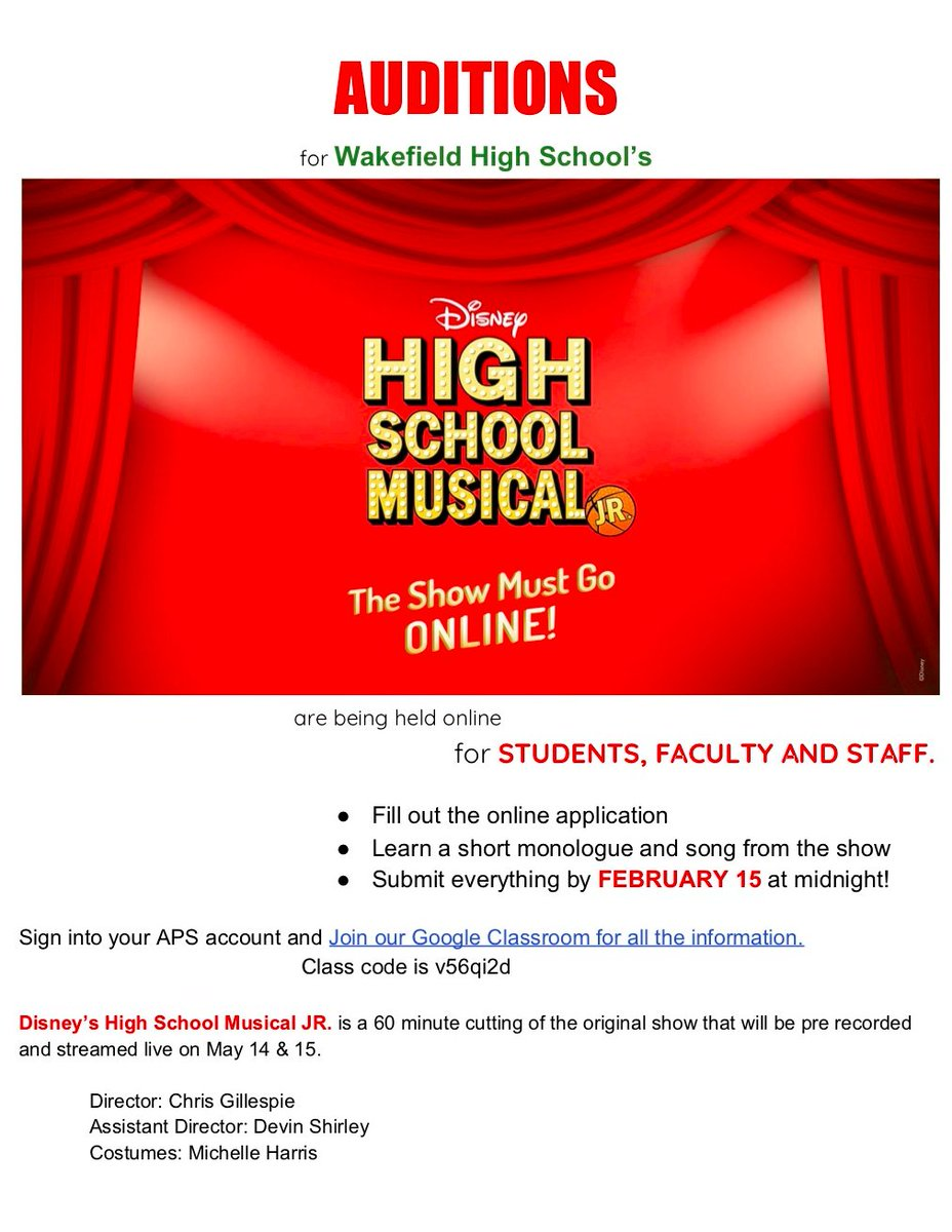Auditions for High School Musical Jr. online are happening now through Feb 15. Sign in to your aps account on the browser and join google classroom with class code v56qi2d for more information. <a target='_blank' href='http://twitter.com/WakeLibrary'>@WakeLibrary</a> <a target='_blank' href='http://twitter.com/WHSHappenings'>@WHSHappenings</a> <a target='_blank' href='http://twitter.com/wakefieldptsa'>@wakefieldptsa</a> <a target='_blank' href='https://t.co/50S8M2DE9l'>https://t.co/50S8M2DE9l</a>