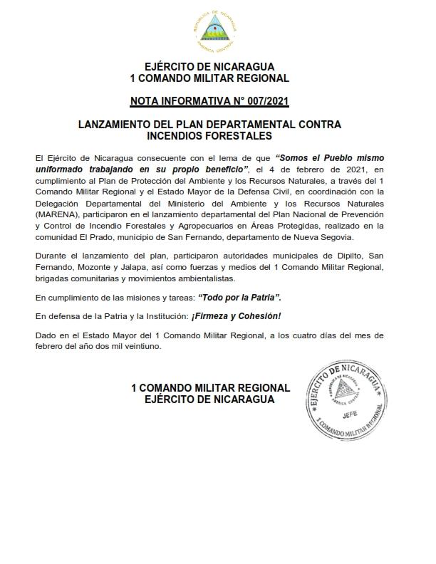 Realizan lanzamiento del Plan departamental contra Incendios Forestales en Nueva Segovia