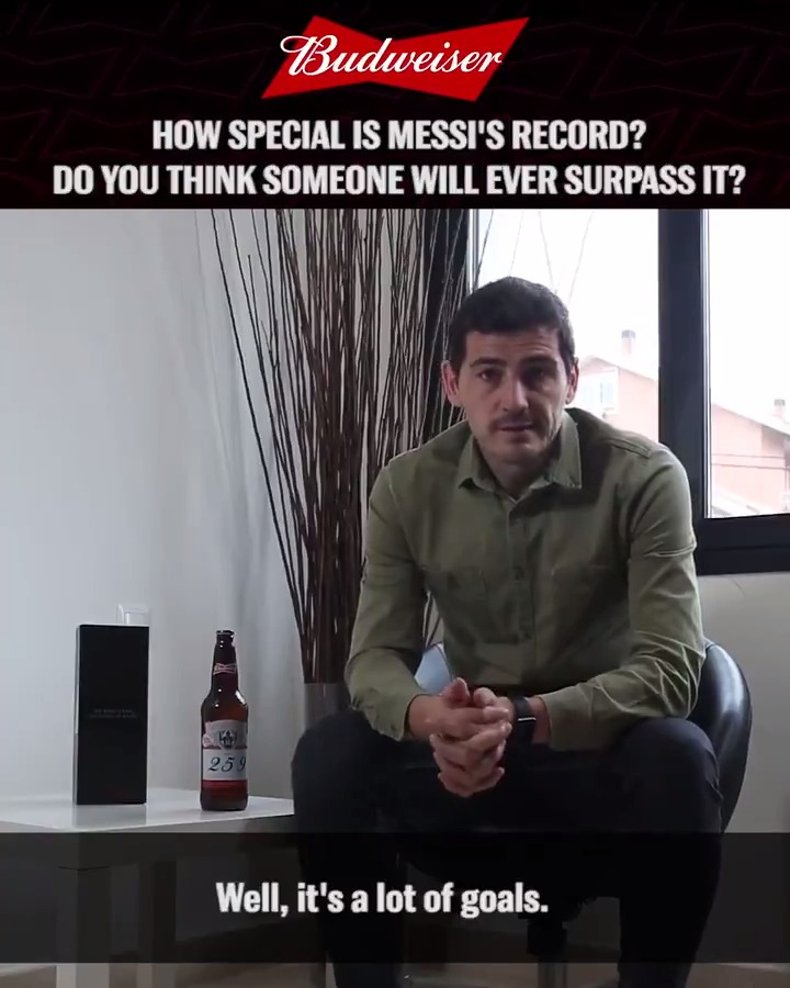 """""""It will be difficult to see another player who can manage to equal the records Leo Messi has...""""  Coming soon. Our exclusive interview with one of the greatest goalkeepers of all-time - @IkerCasillas  #BeAKing #Messi #KingOfBeers #KingOfFootball #laligaicons  @LaLiga"""
