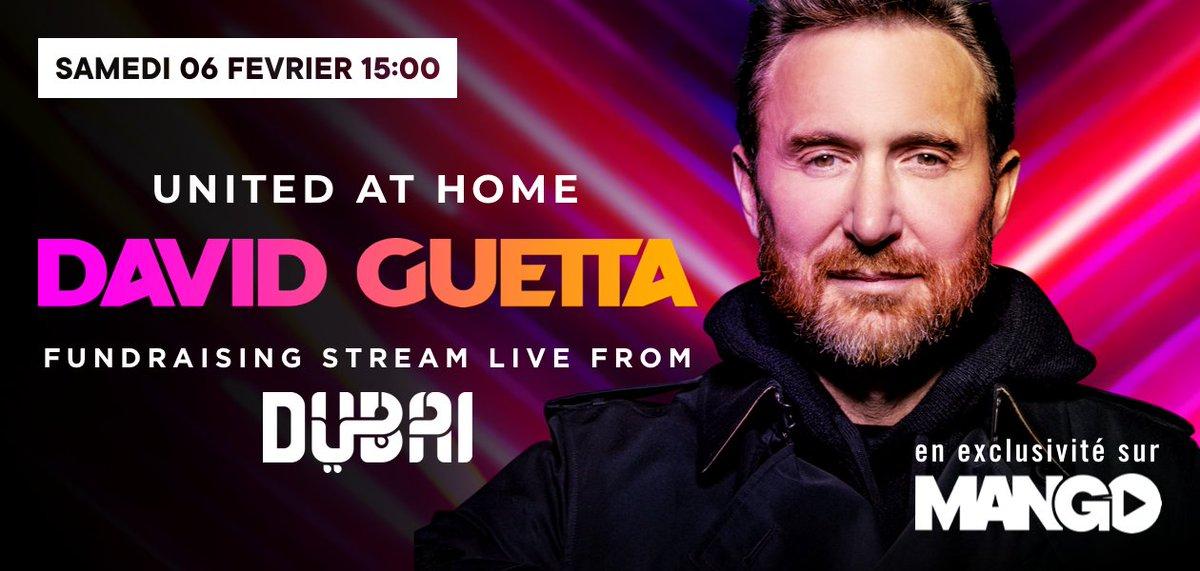 Demain à 15h et en EXCLU TV France sur la chaine #MANGO dispo sur MOLOTOV, @davidguetta se produira en direct de Dubaï pour le show exceptionnel #FundraisingLiveStream 🎧  Afin de lever des fonds pour L'#Unicef et #DubaiCare en ces temps compliqués 🙏  ➡️