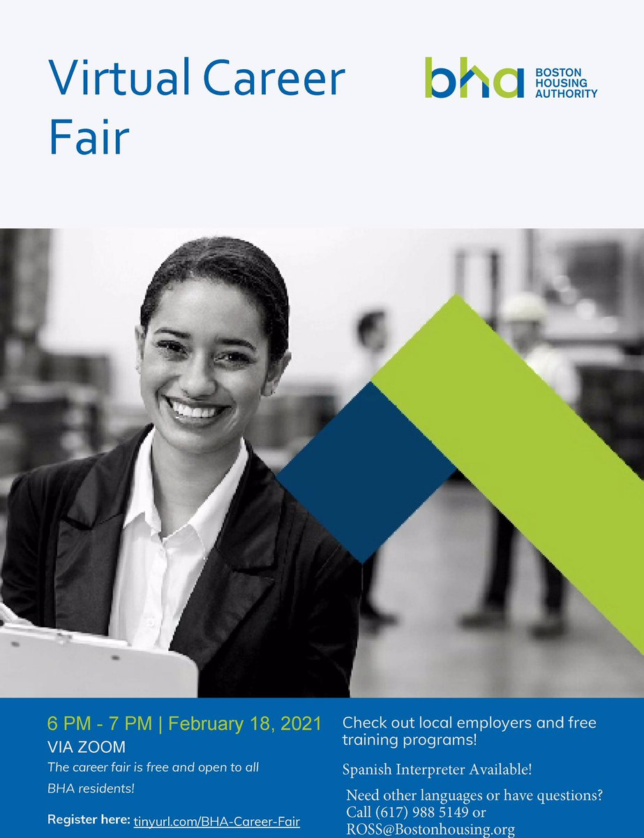Just a reminder!BHA is hosting a Virtual Job Fair on 2/18 6pm. Interested? Register here: https://t.co/KPTKRsMsQ5 #Boston #Jobs #BOSjobs #CareerFair #JobFair