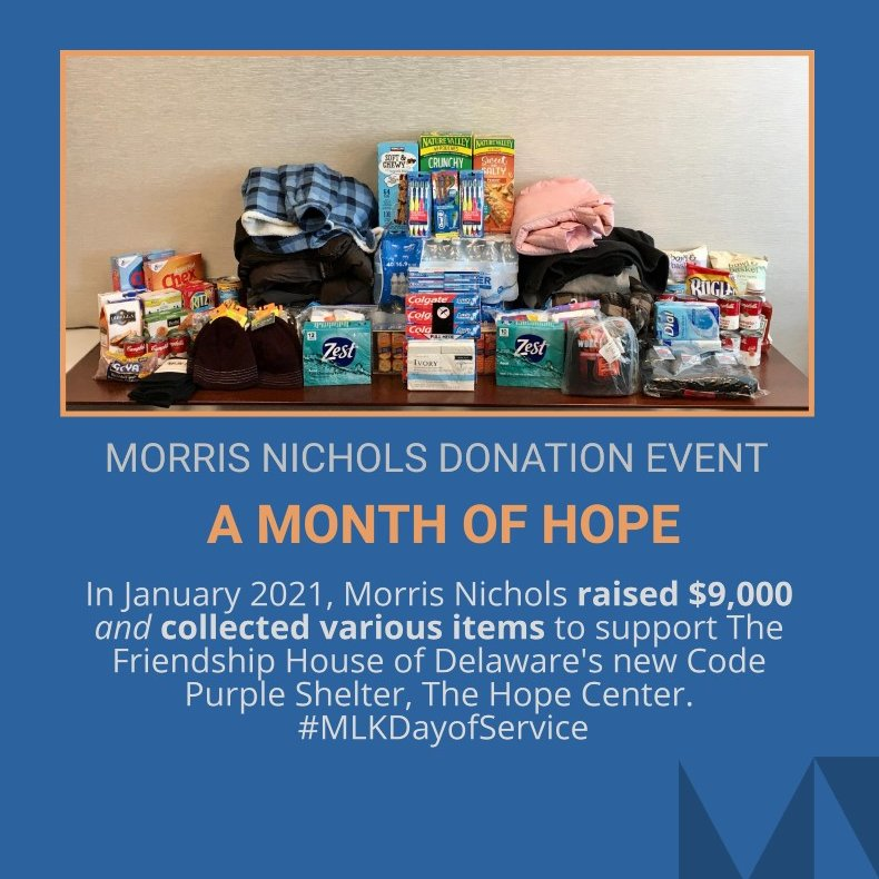 @MorrisNichols held a drive in support of @FriendshipHseDE and its new transitional housing facility, The Hope Center, which will provide lodging, meals, and resources to those in need in our local community. Thank you to all who contributed to this great cause! #MLKDayofService
