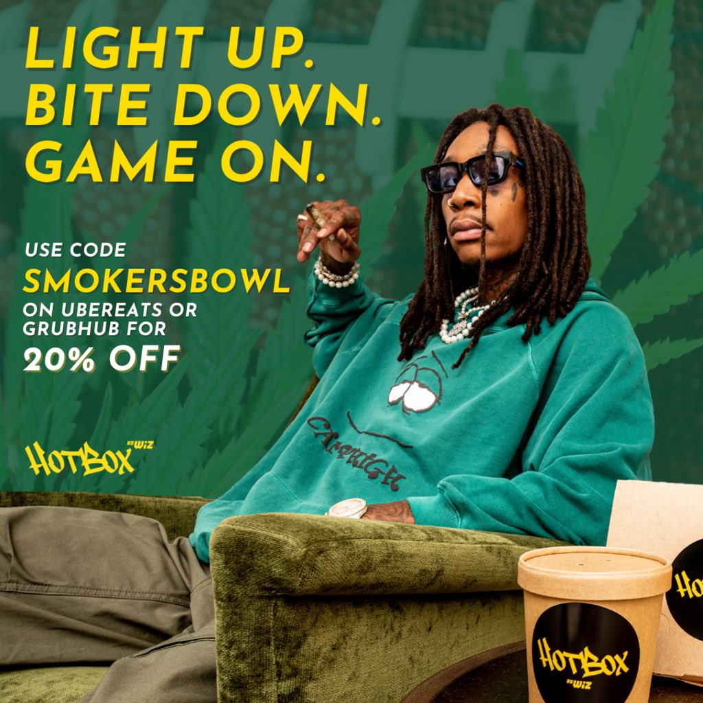 Bite down for the big game‼️ Use our code SMOKERSBOWL on @grubhub or @ubereats to get 20% off of your HotBox by Wiz order - starting now until after the new #SBLV champs take their title 🙌