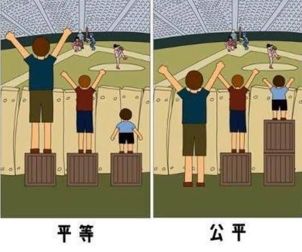 平等と公平について理解する必要がある。