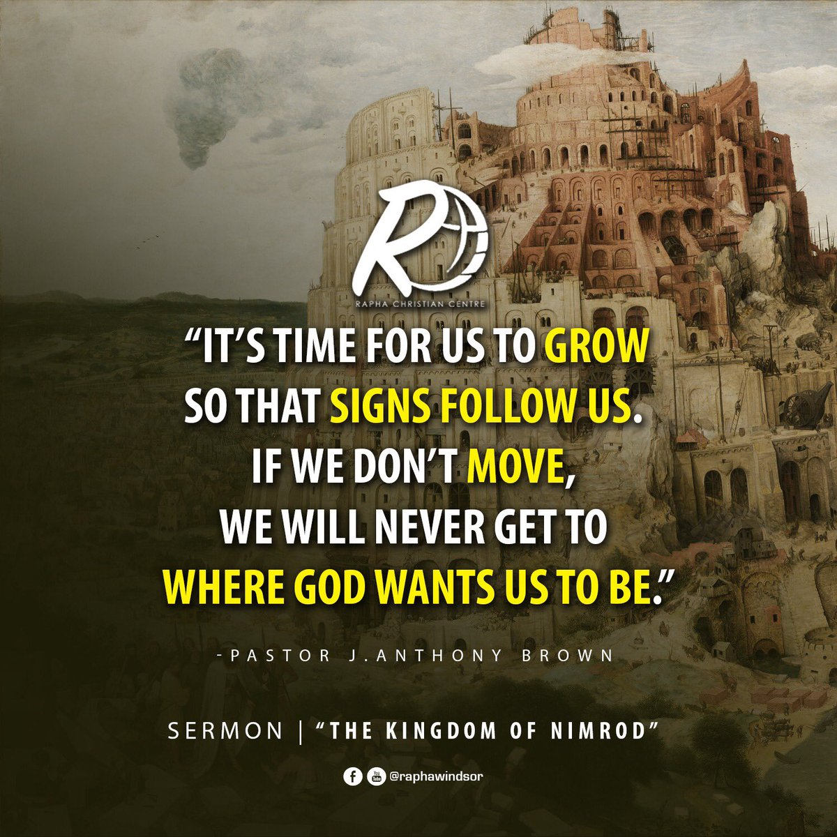 "What signs are following you?   Catch the replay of the sermon, ""The Kingdom of Nimrod"" on YouTube or Facebook (@raphawindsor) today.  #rccwindsor #therccencounter #pastorjabrown #raphawindsor #preacher #windsorontario #onlinesermon #sermonnotes #faith #spiritualgrowth #retweet"
