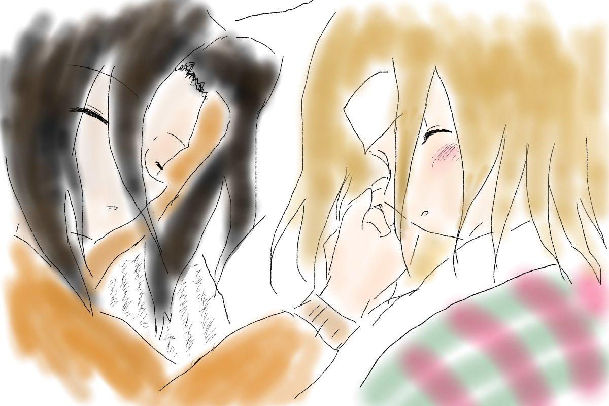 風邪のアンナを看病してたら手を握られ、離れられなくなったのでそのまま一緒に寝ちゃった葉という2人ってめっちゃ可愛くないですかって絵と文。軽いです。#葉アン不可抗力 | まほろば #pixiv