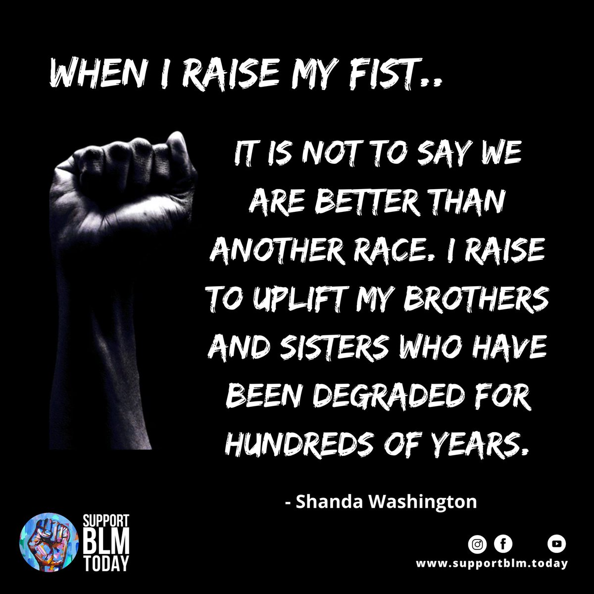 When I raise my fist ✊🏽✊🏾✊🏿    #blacklivesmatter #blmquotes #blm #blm2021 #equality #racism #solidarity #blacklives #mlk #blmmovement #nojusticenopeace #blacklivesmatterplaza #blmprotest #blmfist