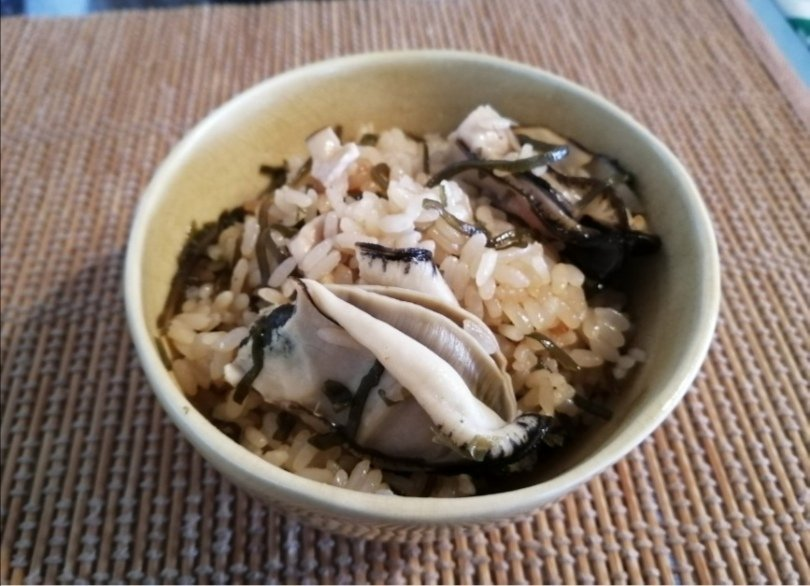 牡蠣おこわも作ってみました。