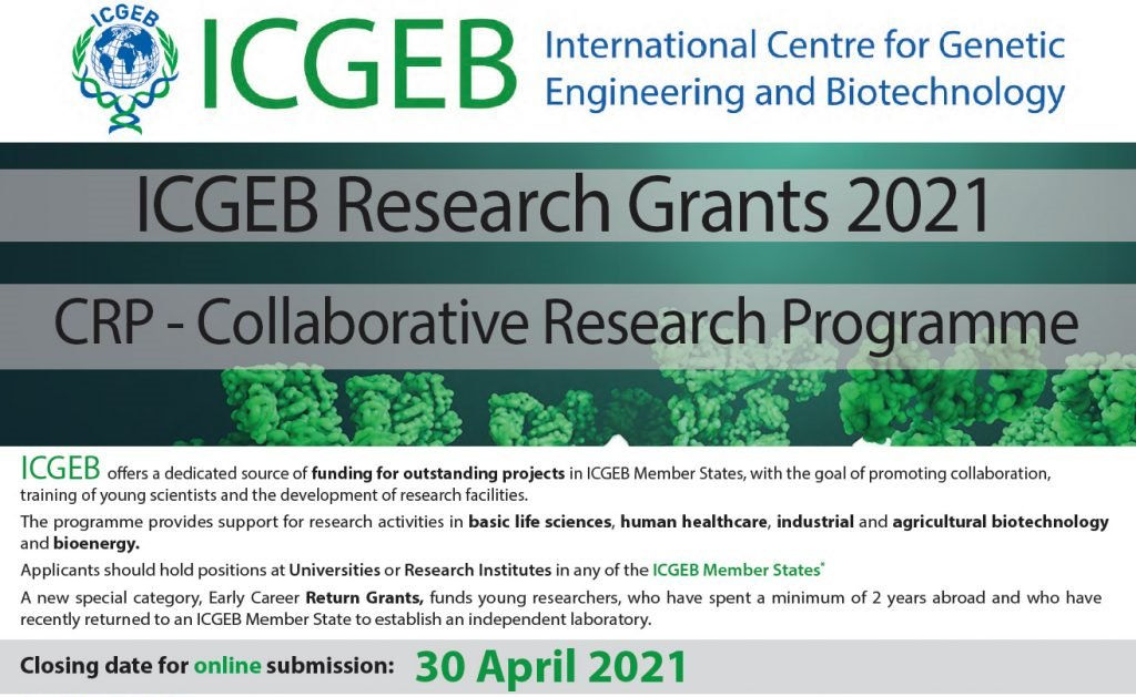 CRP- ICGEB Early Career Grants (Funding Opportunities) Under Collaborative Research Programme (CRP) ICGEB