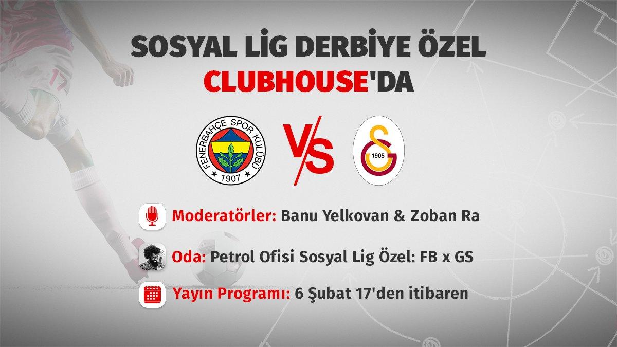 Petrol Ofisi Sosyal Lig Derbi Özel #FBvsGS17.00'den itibaren maç boyunca ve maç sonrası kesintisiz derbi sohbetimiz için Clubhouse'dayız. @joinClubhouse Sorularınızı @tribundergi'deki derbi tweeti altından da gönderebilirsiniz. 📥Bekliyoruz. 👋