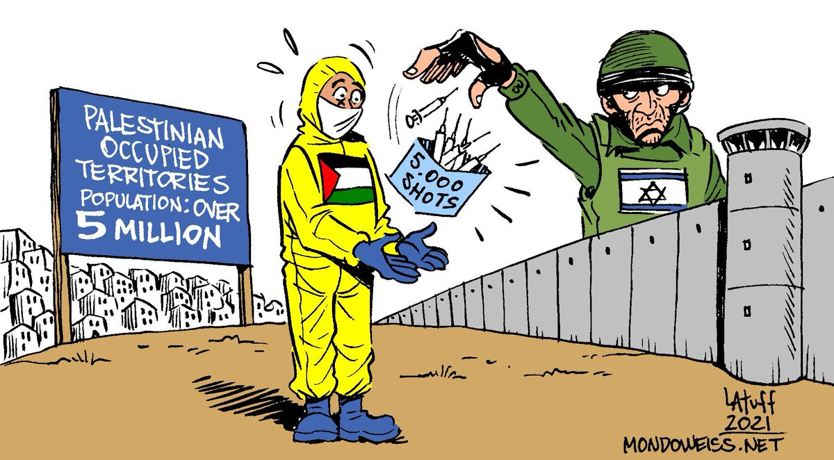 """Carlos Latuff on Twitter: """"After weeks of mounting pressure from the  international community, #Israel announced that it will be giving 5000  doses of its COVID-19 vaccine supplies to the Palestinian Authority an"""