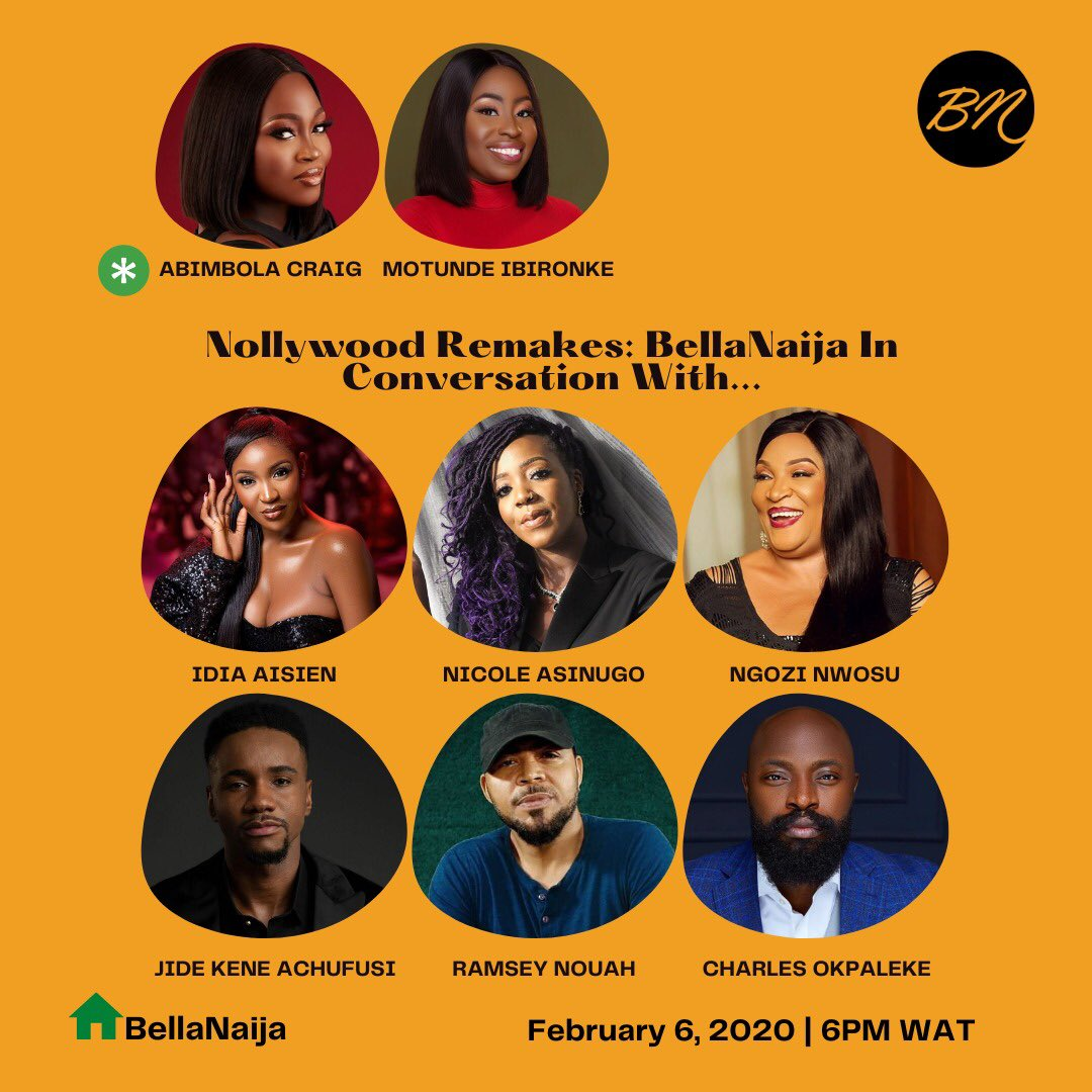 Our first ever ClubHouse Session is live in 3 hours and we're discussing the growing trend of #Nollywood remakes with #IdiaAisien #RamseyNouah #JidekeneAchufusi #NgoziNwosu #NicoleAsinugo and #CharlesOkpalekeModerators: #AbimbolaCraig & #Motunde Click