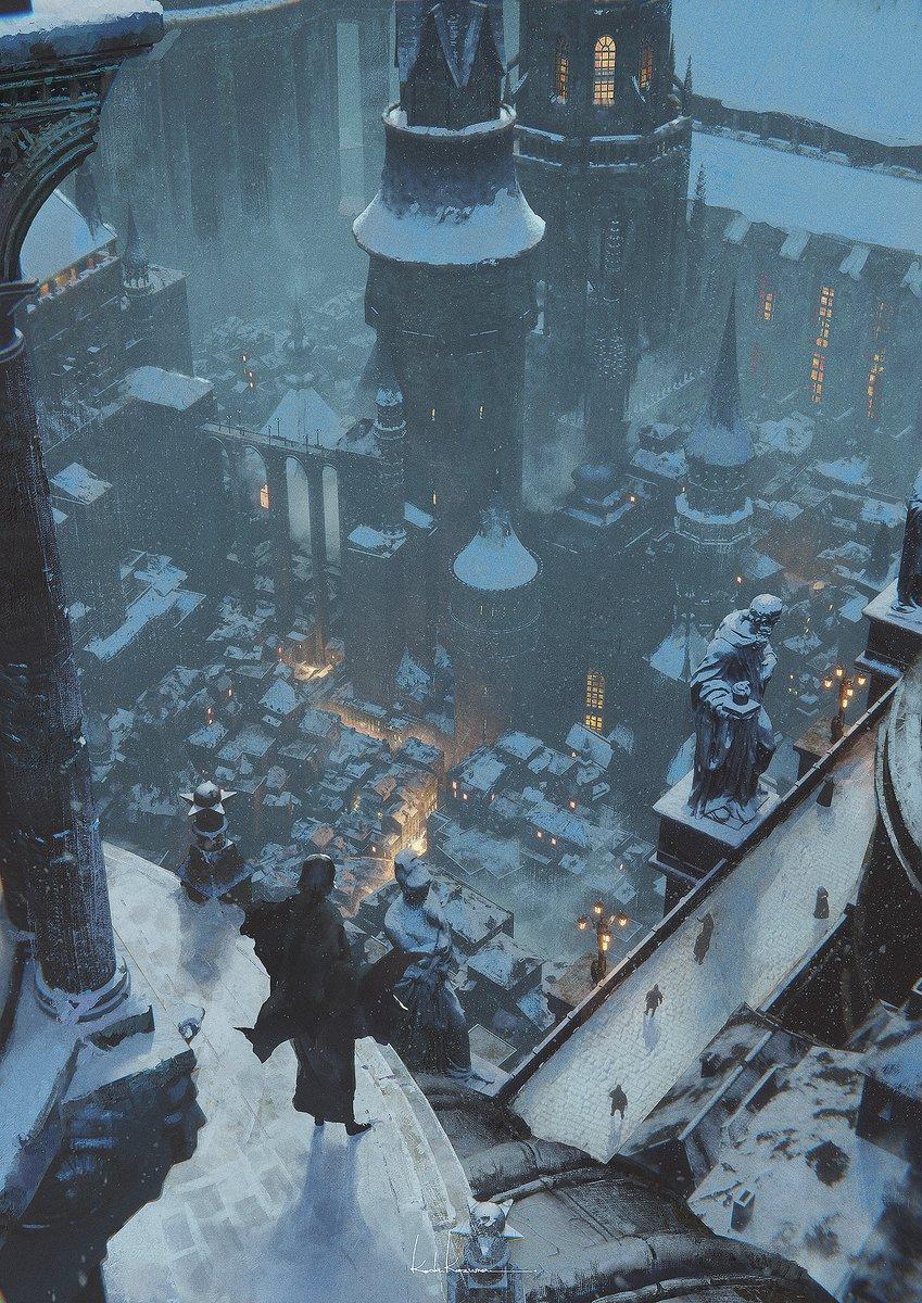 学園都市の冬(縦長の絵です)