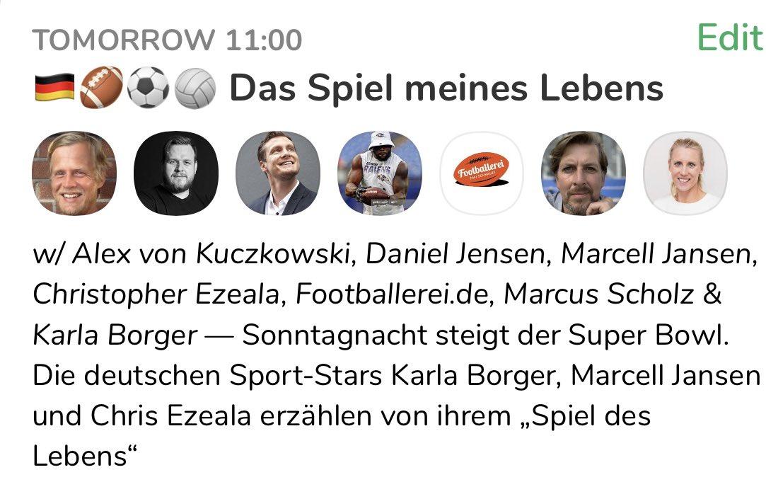 """Als Einstimmung auf den #SuperBowl - morgen um 11 Uhr im """"Clubhouse"""" erzählen @chris_ezeala, @MarcellJansen und @karlaborger von ihrem """"Spiel des Lebens"""". Seid dabei!👉🏻"""
