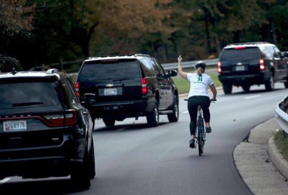 Juli Briskman was the cyclist who gave the Trump motorcade the finger. Donald Trump was so angry he demanded that she be fired, and she was. She was so angry she decided to run for office and defeated the local Republican candidate. She has been sworn in, now.