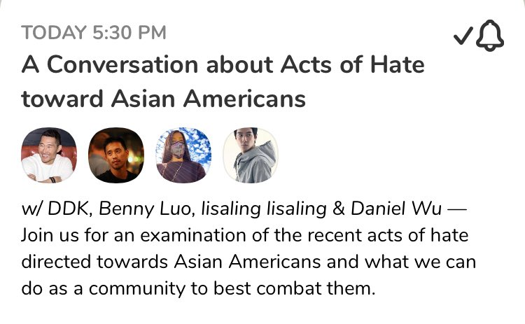"""Starting soon. Have a listen. Apropos of this thread: """"A Conversation about Acts of Hate toward Asian Americans"""" with @danieldaekim, @bennyluo, @lisaling, & @danielwuyanzu. Today, Feb 6 at 5:30 PM EST on @joinclubhouse!  @ClubhouseBest #AAPI @AAFederation"""