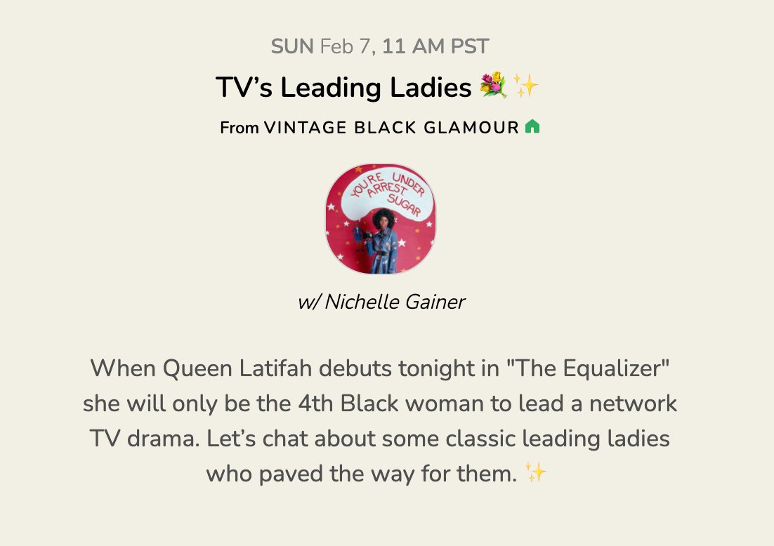 When Queen Latifah debuts on Sunday, Feb 7th in #TheEqualizer  she will only be the 4th Black woman to lead a network TV drama. Let's chat about some classic leading ladies who paved the way in the Vintage Black Glamour club at 2pm EST. #VintageCH✨