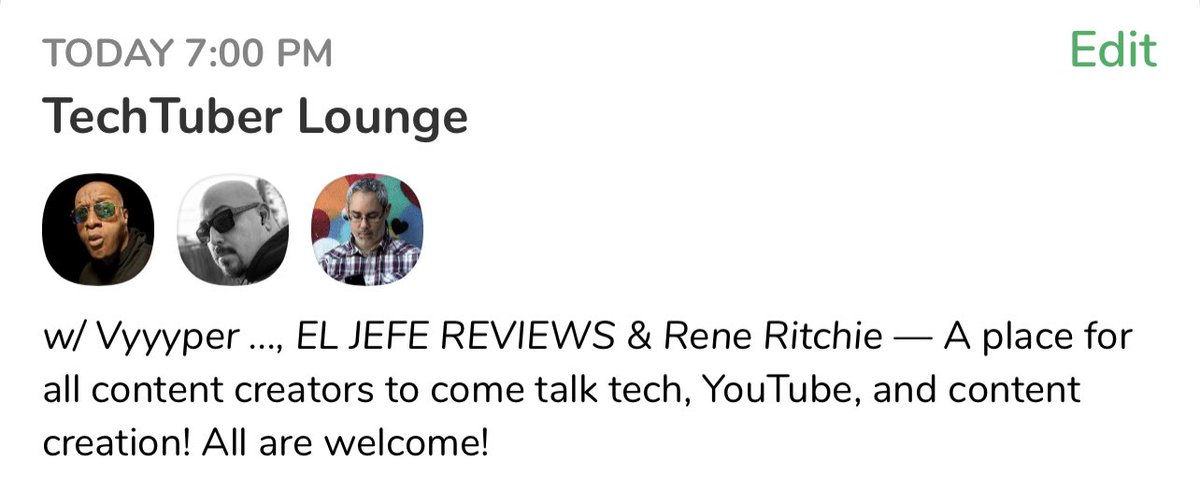 🚨🚨TONIGHT🚨🚨The Lounge is OPEN!!! At 8pm EST the TechTuber Lounge is in session on Clubhouse!  Come hang with @reneritchie @ELJefeReviews and myself as we talk all thing tech, YouTube and content creation! Set your reminders here: