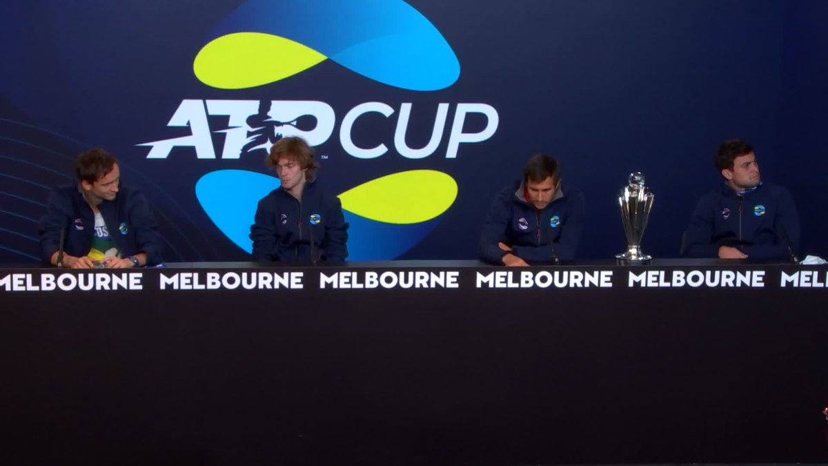 """""""I don't want to see the draw!""""   @AndreyRublev97 vs. @DaniilMedwed coming soon?  #ATPCup   #TeamRussia"""