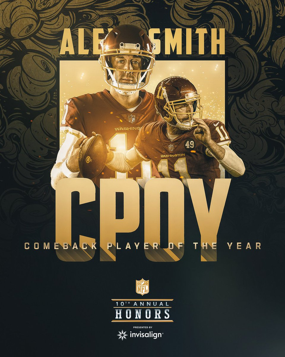 Replying to @NFL: .@washingtonNFL QB Alex Smith is the 2020 Comeback Player of the Year! (by @Visa) #NFLHonors