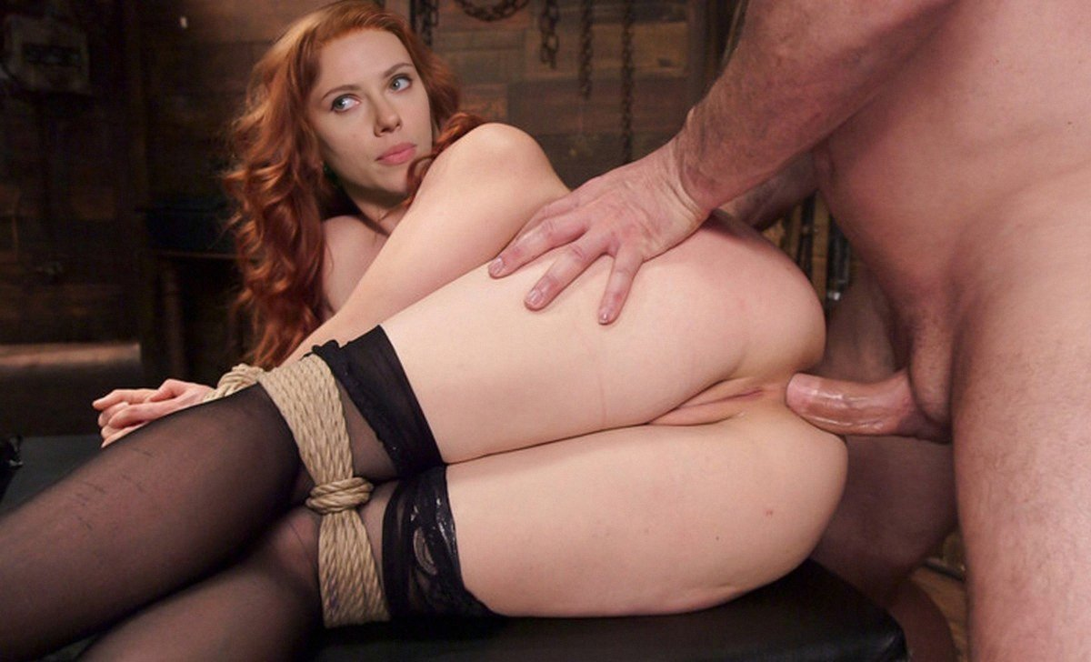 Redhead and brunette slaves anal sex