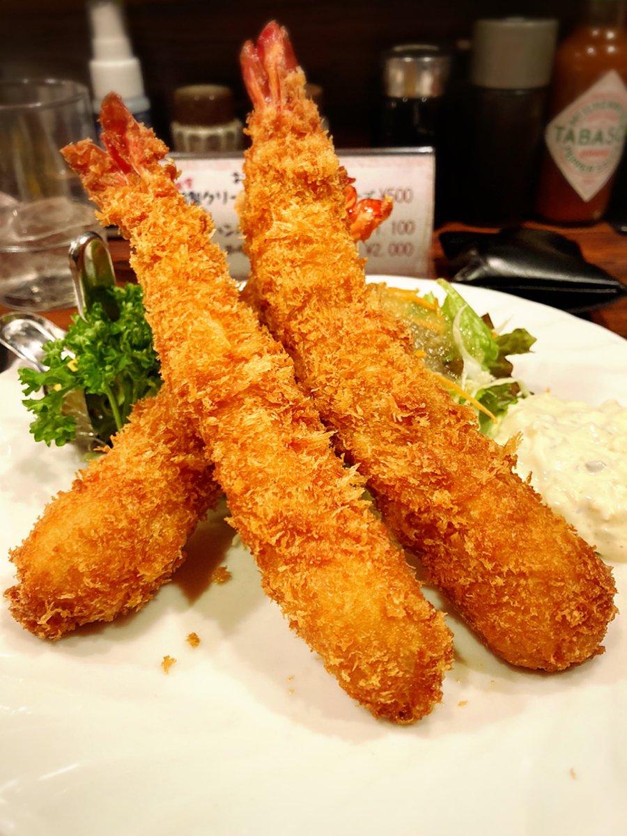 お昼を食べるぴょ〜ん🍤🍤🍤🐰🍽🐾#洋食 #チェック #洋食チェック #エビフライ #飯テロ