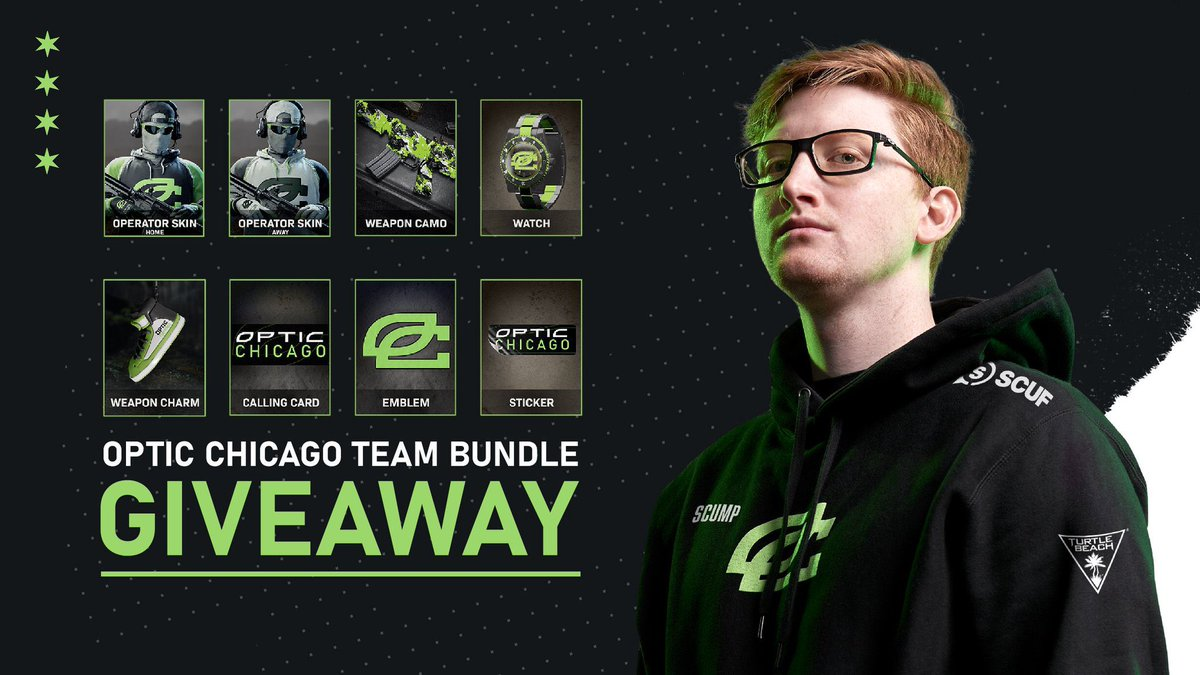 Giving away 3 OpTic bundles to the Greenwall. RT and fav this tweet, and be following myself and @OpTicCHI . Good luck!!