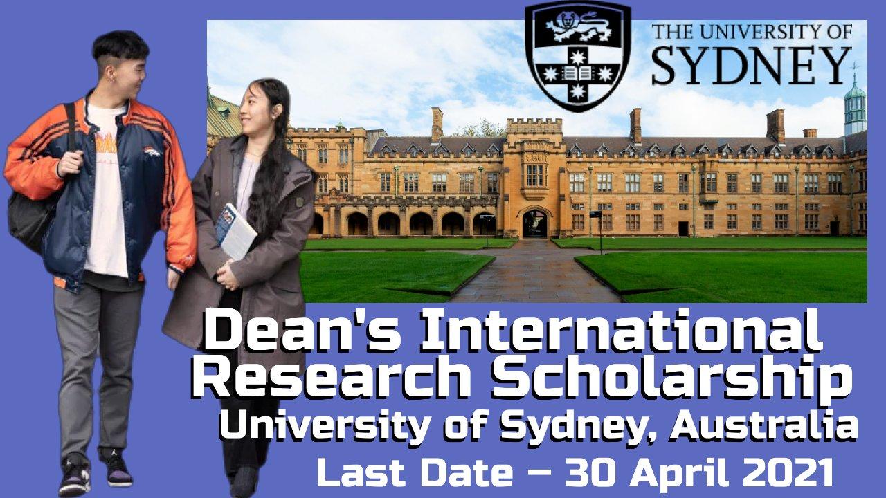 Dean's International Research Scholarship, University of Sydney, Australia