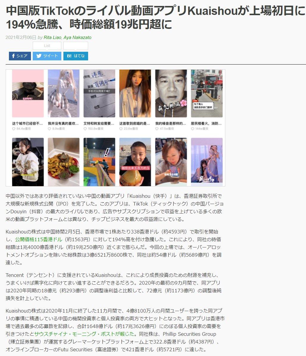 「中国版TikTokのライバル動画アプリKuaishouが上場初日に194%急騰、時価総額19兆円超に」 >Kuaishou(快手) / 中国時間2月5日、香港市場で1株あたり338香港ドル(約4593円)で取引を開始し、公開価格115香港ドル(約1563円)に対して194%高を付け急騰した