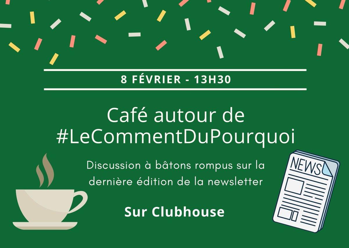 Allez, après 10 jours d'écoute, de participation, de tests, de fous rires et d'échanges, je prévois mon premier #salon sur #ClubHouse !Une discussion à bâtons rompus autour de la prochaine édition de #LeCommentDuPourquoi. Lundi 8 février, 13h30 👉