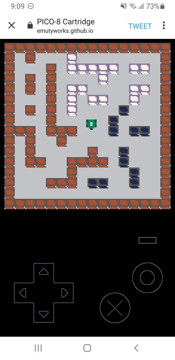 PICO-8のHTMLゲームプレイヤー、スマホで見るとちゃんとボタンが出るんですね、これは良く出来てる :D