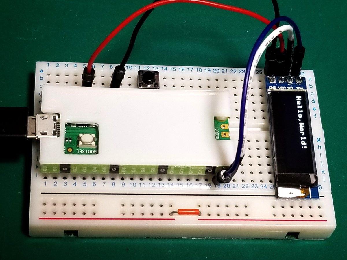 Raspberry Pi Pico の Micro Python で 128x32 OLED に Hello,World!micropython-ssd1306 ライブラリを使いました。I2C は I2C0/I2C1 があって、それぞれで SCL/SDA に割り当てられるピンが決まってるんですね。
