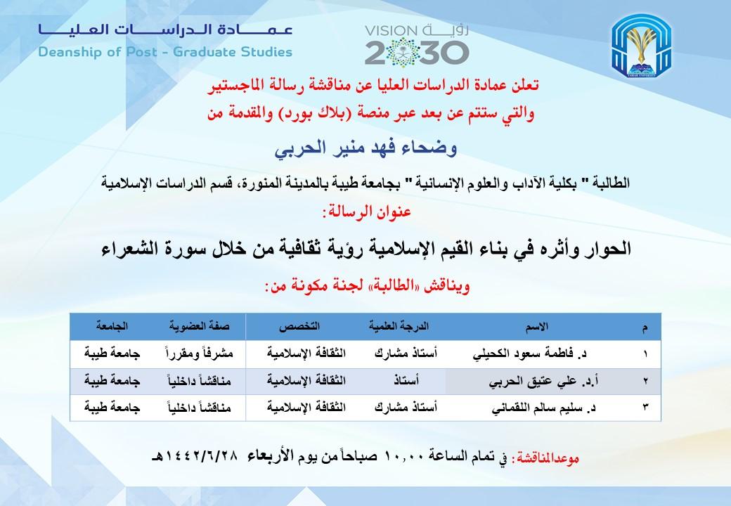 تخصصات جامعة طيبة بالمدينة المنورة بنات