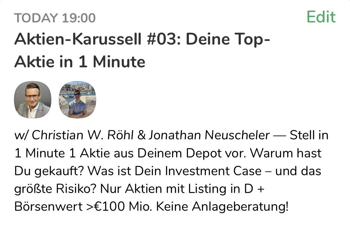 Und nach dem #Luxus-Talk mit Annette Weber und Julia Venohr steige ich um 19.00 Uhr mit @JonNeuscheler wieder aufs #Aktien-Karussell: Interaktive Investment-Inspirationen am laufenden Band. Wir freuen uns auf viele Vorstellungen!#Clubhouse