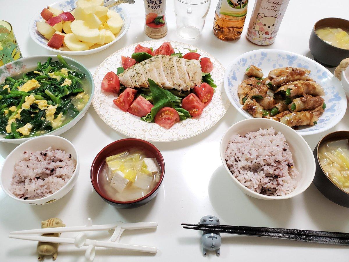 今日の晩ごはん🍴🍳サラダチキンスナップえんどうと豚バラのスタミナ焼き卵とほうれん草のねぎ塩あんかけ白菜お味噌汁🍎#レシピ#料理#料理記録#おうちごはん#Twitter家庭料理部#料理好きさんと繋がりたい