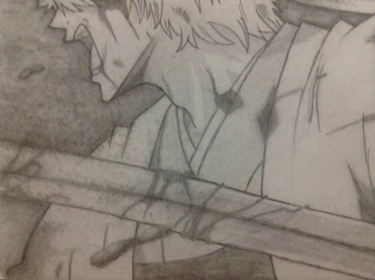 #絵描きさんと繫がりたい 銀さんの絵を描いてみたけど、剣と人の遠近感だすのが難しい(><)