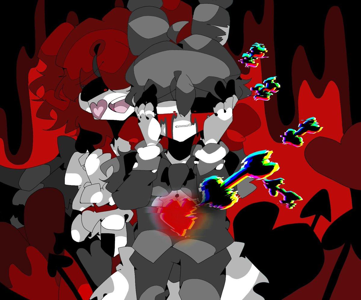 #FNAFの擬人化FNAFのイラストFNAFARのHeartsick BabyとBlack Heart Bonnieを描いてみました!今回はBabyがBonnieの心(精神)を壊しているようです…!Bonnie「な…なんで…僕が…こんなことに…どうして…」Baby「アハハ!!これが心が壊されておかしくなる姿なのね!!」※擬人化です。