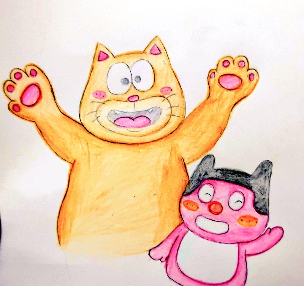 #イラスト #アナログイラスト #イラスト好きな人と繋がりたい #アナログ絵師さんと繋がりたい 今日のイラスト。太った猫くん(@KMiylk)と、ぼっちぼろまる(@borotchi) さんを描いてみたよ🎵