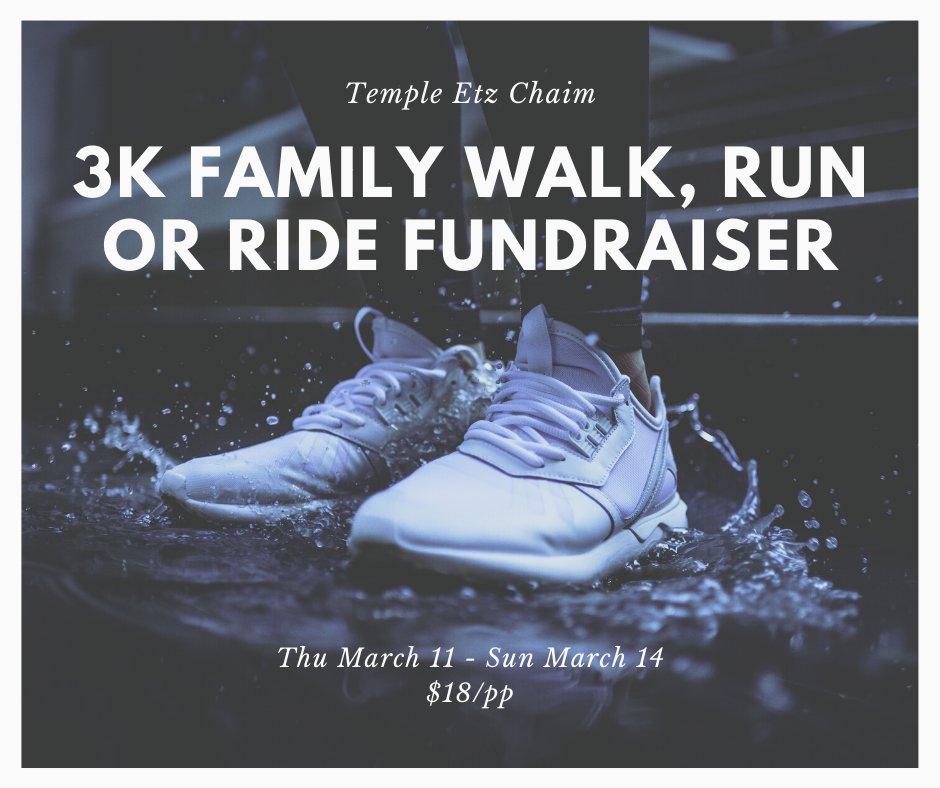 Temple Etz Chaim: Virtual 3K Walk, Run or Ride FUNdraiser - March 11 - 14