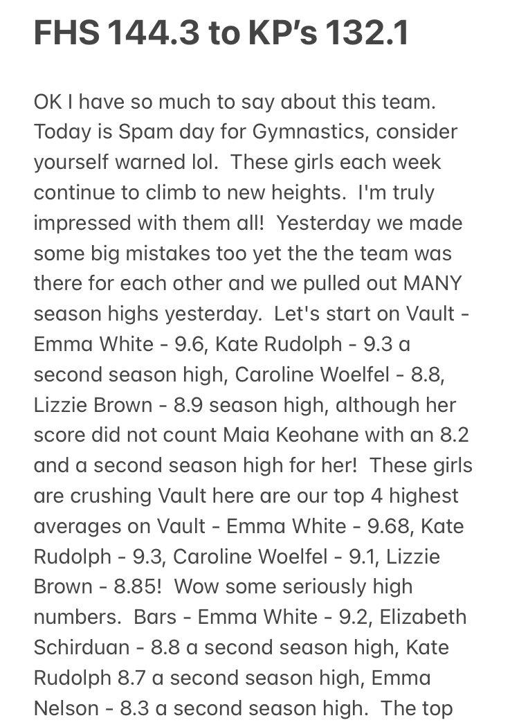 FHS Gymnastics - details on meet results vs. King Philip