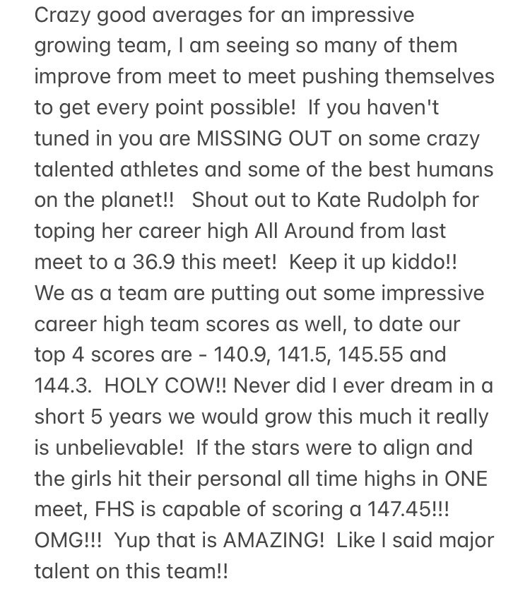 FHS Gymnastics - details on meet results vs. King Philip 3