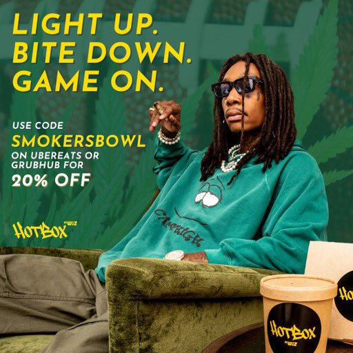 Grab @HotBoxbyWiz for your #SuperBowl eats 🏈  Save 20% using code SMOKERSBOWL on @UberEats & @Grubhub