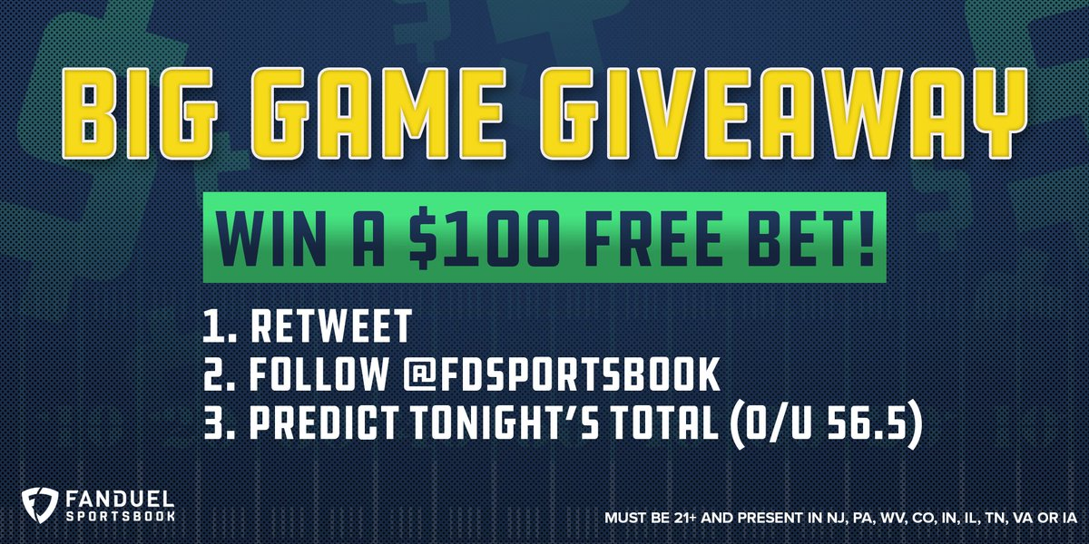 🚨 GIVEAWAY 🚨  Over or Under 56.5 total points tonight in the #SuperBowl?   ① RETWEET ② FOLLOW: @FDSportsbook ③ REPLY with OVER or UNDER  55 randomly selected correct answers will win a $100 free bet! 🤑