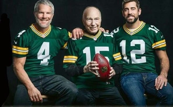 10 MVP Awards in one legendary picture.  Seven AP MVP Awards; three Super Bowl MVP Awards.  Four Super Bowl wins; seven World Championships.  1170 Total TDs put up between them, including the postseason.  There is no position in sports like quarterback of the Green Bay Packers.