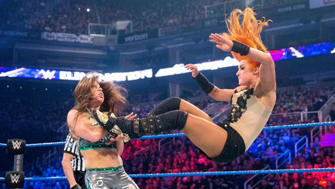 Mickie James against Becky Lynch. (WWE)